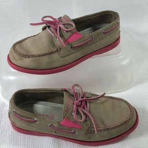 Sperry Top Sider A/O Gore Tan Hot Pink Leather 1.5